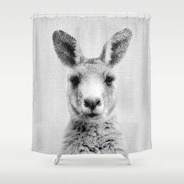 Kangaroo - Black & White Shower Curtain