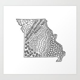 Missouri State Map Illustration Art Print