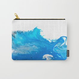 Point Break -   Turquoise Blue Abstract Art Wave Carry-All Pouch