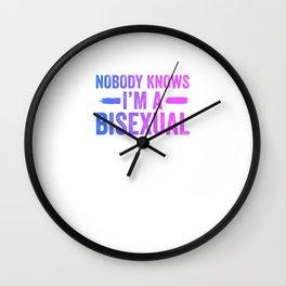 Nobody Knows I'm A Bisexual Funny Bi Pride LGBT Cool Humor Design Pun Gift Wall Clock