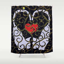 "KARAKUSA CAT'S ""LOVE"" Shower Curtain"