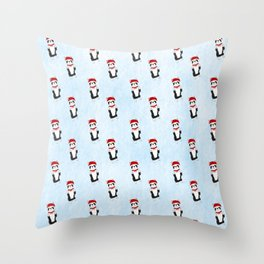 Boston Terrier Santa Throw Pillow