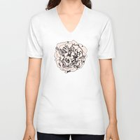 damask V-neck T-shirts featuring Damask Rose by Katie Acheson Wolford