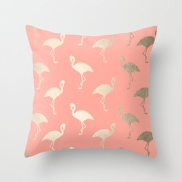 Gold Flamingo Pattern Coral Pink Throw Pillow