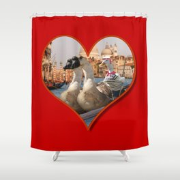Geese on a Romantic Gondola Ride Shower Curtain