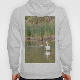 Lone Pelican among the Ducks Hoody