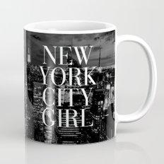 New York City Girl Black & White Skyline Vogue Typography Mug