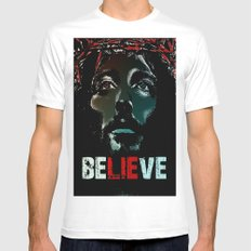 Believe Poster White MEDIUM Mens Fitted Tee