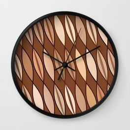 Mid Century Modern Leaves, Cocoa Brown and Beige Wall Clock