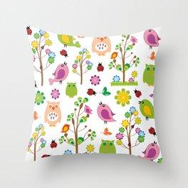 Summer birds pattern Throw Pillow