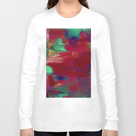 Crimson Overflow - Abstract, red, crimson, green, purple oil painting Long Sleeve T-shirt