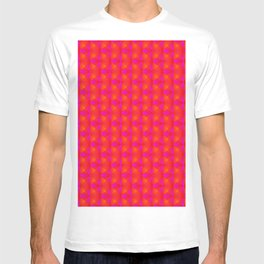Chaotic pattern of pink rhombuses and orange pyramids. T-shirt