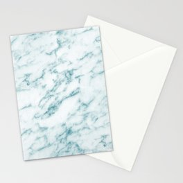 Ribbons of Aqua and White Marble Stationery Cards