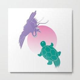 Crane and turtle Metal Print