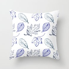 Leaves (navy) Throw Pillow