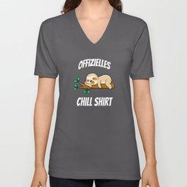 Offizielles Chill Shirt Lustiges Faultier Müde Unisex V-Neck