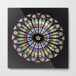 Stained glass cathedral rosette Metal Print
