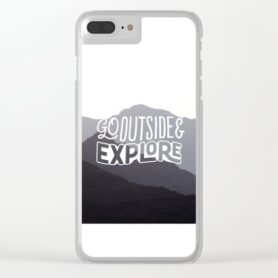 Go outside & explore (valley) Clear iPhone Case