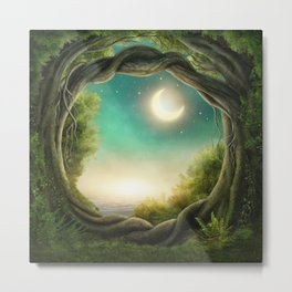 Magic Moon Tree Metal Print