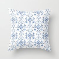 damask Throw Pillows featuring Damask... by Catherine Ann Lewis