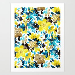 Happy Yellow Flower Collage Art Print