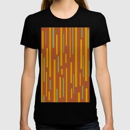 Interrupted Lines Mid-Century Modern Pattern in Mustard Yellow, Ochre, Green, and Clay T-shirt