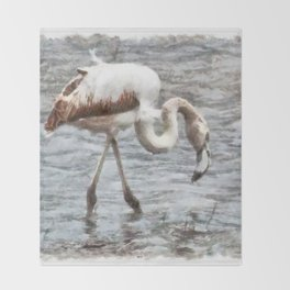 Knee Deep Flamingo Watercolor Throw Blanket