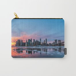 Skyline New York during sunset and a frozen Hudson River Carry-All Pouch