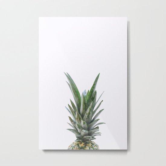 White Pineapple Metal Print