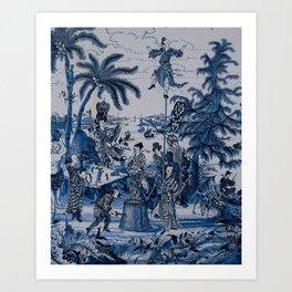 17th Century Delftware Chinoiserie Art Print