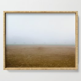Baseball Field on a Foggy Morning Serving Tray