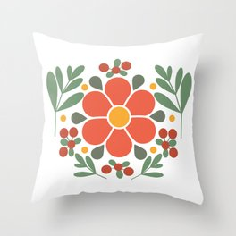 A Red Flower and Lingonberries Throw Pillow