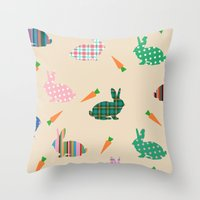 rabbits Throw Pillows featuring rabbits by vitamin
