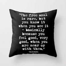 Charles Bukowski Typewriter White Font Quote Free Soul Throw Pillow