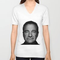 hayley williams V-neck T-shirts featuring Robin Williams by Ionic Slasher