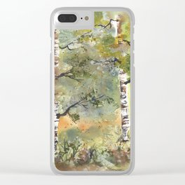 Spring Birch Forest, an original watercolor painting Clear iPhone Case
