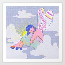 Disco Fairy Angel Groovy Retro 60s Psychedelic Art Art Print