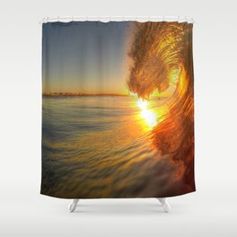 Chris Harsh Photos * Golden Wave At Dawn Shower Curtain