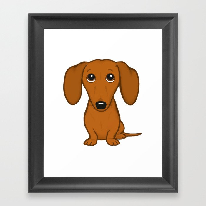 Shorthaired Dachshund Cartoon Dog Gerahmter Kunstdruck