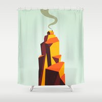 house Shower Curtains featuring House by Dorian Danielsen