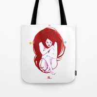 musa Tote Bags featuring MUSA RED by Xavi Guerra