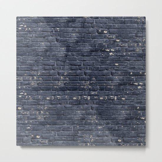 Black Brick Wall Metal Print