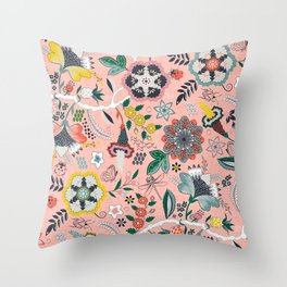 BOHO Chintz (Coral Pink) Throw Pillow