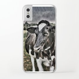 Melancholic Black White Dutch Cow Clear iPhone Case