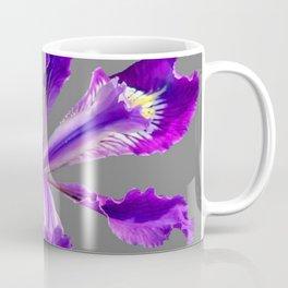 PURPLE DUTCH IRIS FLOWER GREY  DESIGN Coffee Mug
