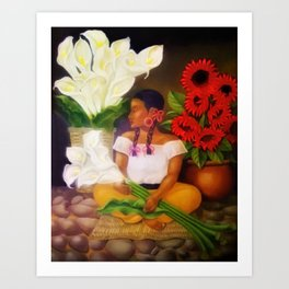 Girl with Calla Lilies and Red Mexican Sunflowers floral portrait painting Art Print