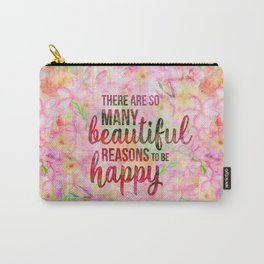 Pink Tropical Flower Typography Illustration Carry-All Pouch