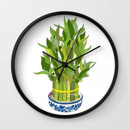 Lucky Bamboo in Porcelain Bowl Wall Clock