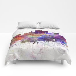 Rochester NY skyline in watercolor background Comforters
