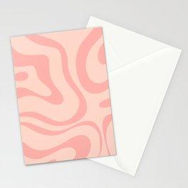 Soft Blush Pink Liquid Swirl Modern Abstract Pattern Stationery Cards